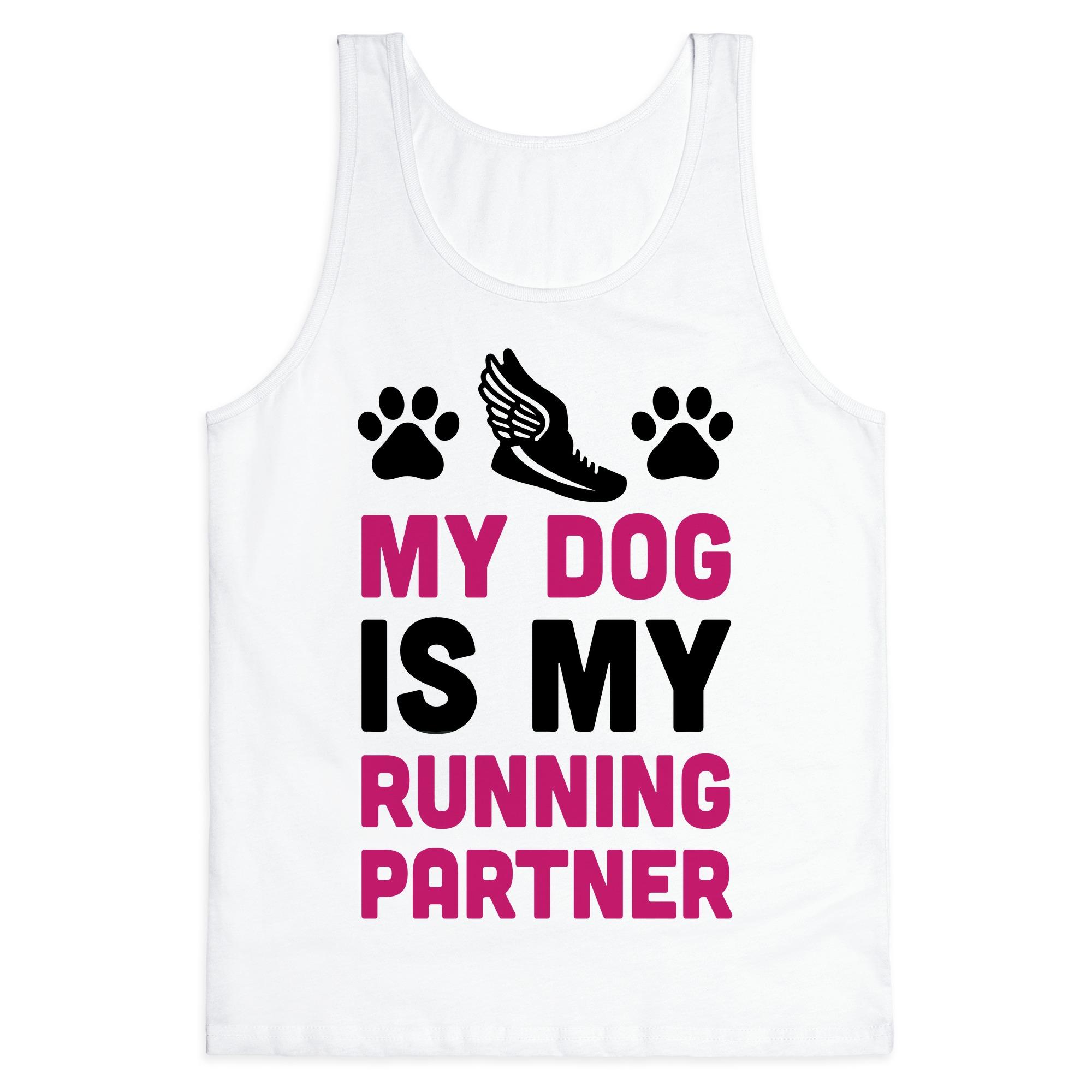 Running Crop Top My Dog is my Running Partner Crop Top Dog Mom Shirt Funny Running Tank Dog Lover Shirt Women/'s Running Tank
