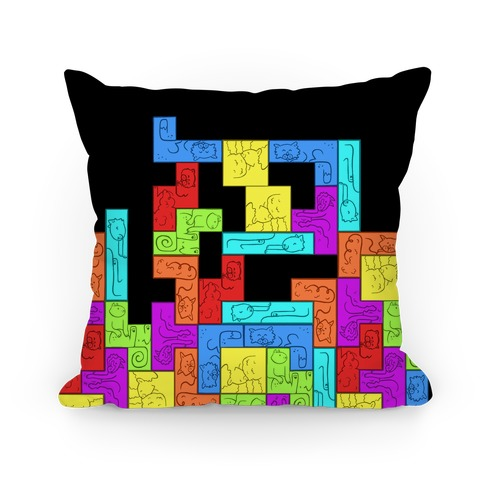 Tetris Cats Fail Pattern Pillow