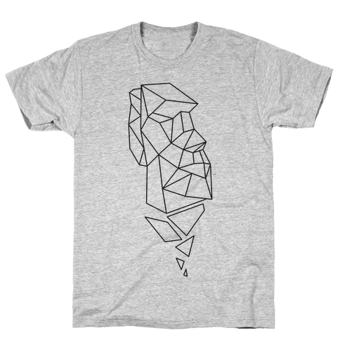 Fractal Moai Head Mens T-Shirt