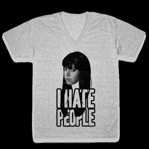 I Hate People V-Neck Tee Shirt