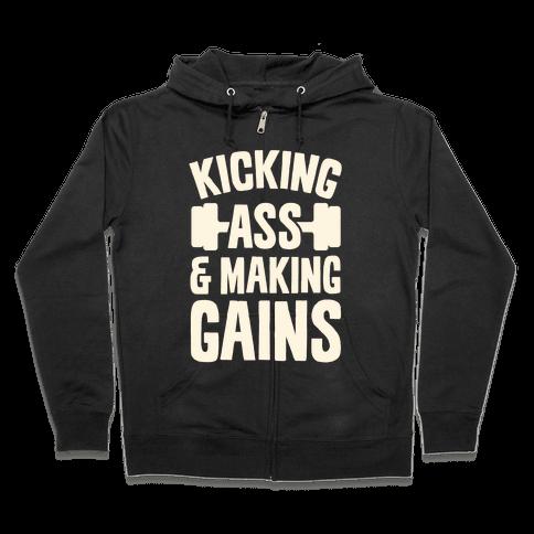 Kicking Ass & Making Gains Zip Hoodie