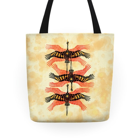 Geometric Deco Flying Cranes Tote