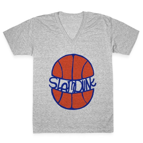 Basketball Slam Dunk V-Neck Tee Shirt