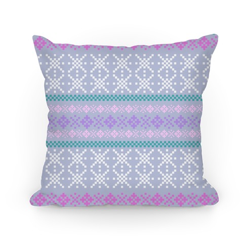 Sweater Pattern Print Blue Pillow