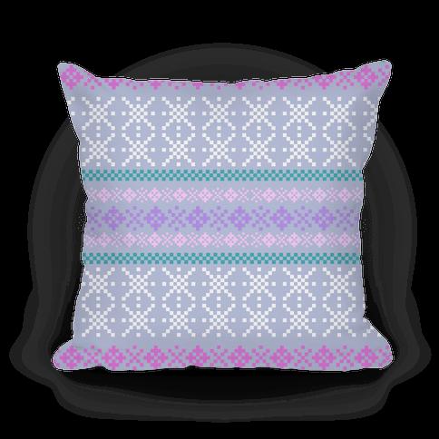 Sweater Pattern Print Blue Pillow