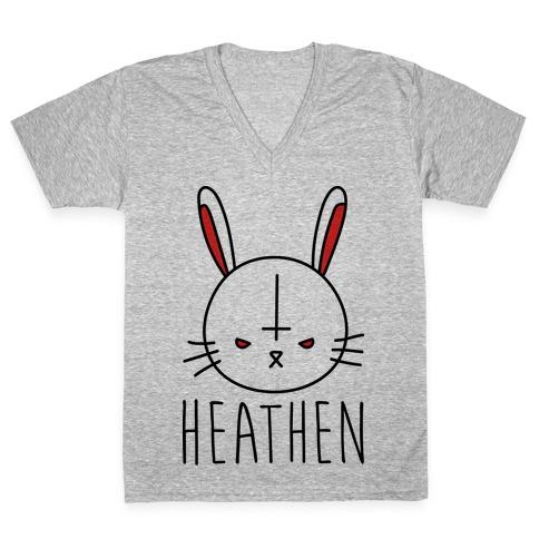 Heathen Easter Bunny V-Neck Tee Shirt