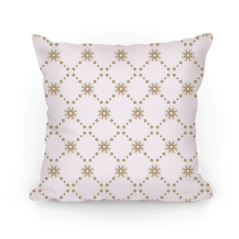 White and Gold Snowflake Pattern Pillow