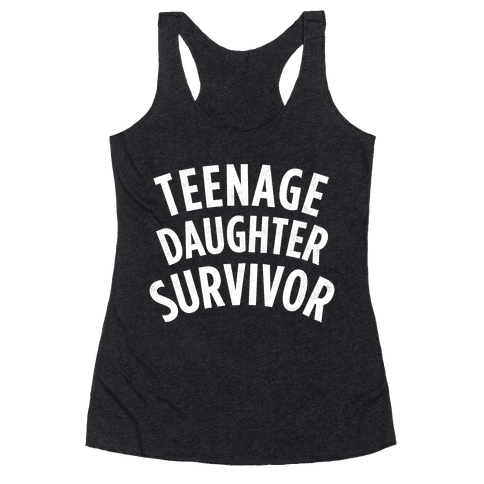 Teenage Daughter Survivor (Dark) Racerback Tank Top