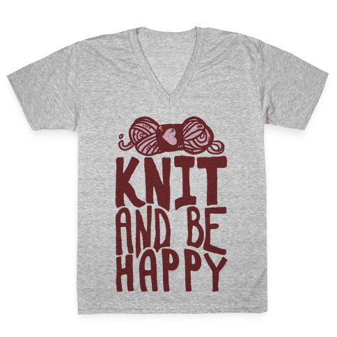 Knit And Be Happy V-Neck Tee Shirt