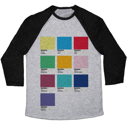 Magical Girl Color Swatch Parody Baseball Tee