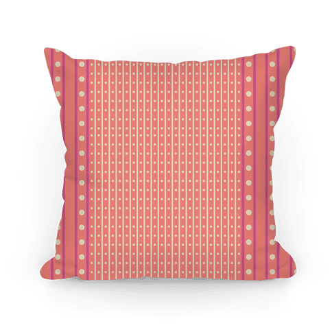 Coral Stripes and Polka Dots Pillow