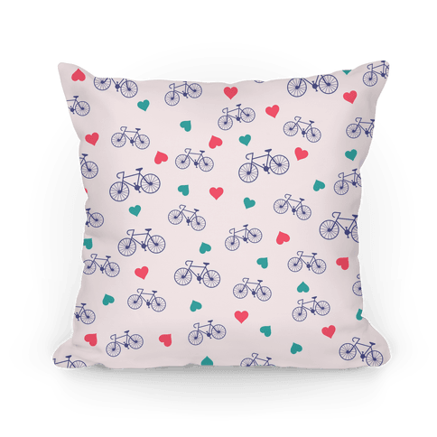 Bikes and Heart Pattern Pillow