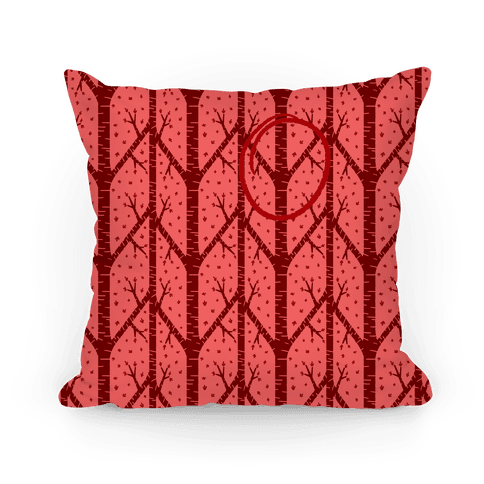 Red Tree Pattern Pillow