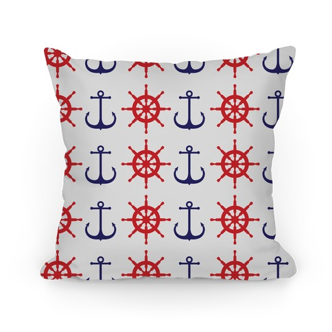 Anchor And Ship Wheel Pattern Pillow