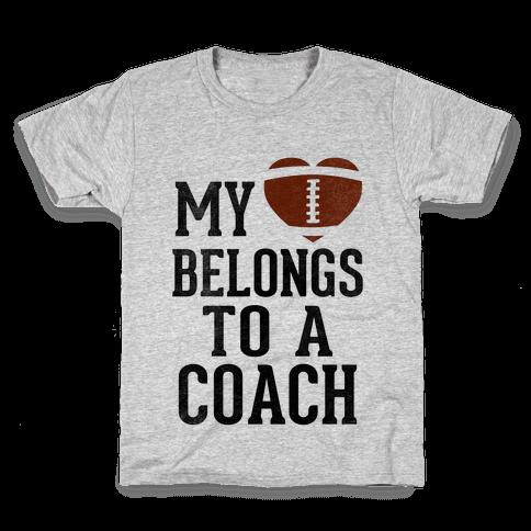 My Heart Belongs To A Football Coach (Baseball Tee) Kids T-Shirt
