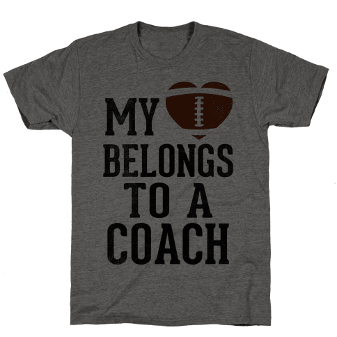My Heart Belongs To A Football Coach (Baseball Tee) Mens T-Shirt
