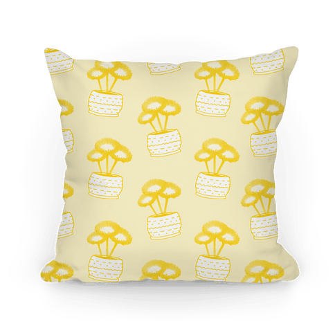 Yellow Daisy Pattern Pillow