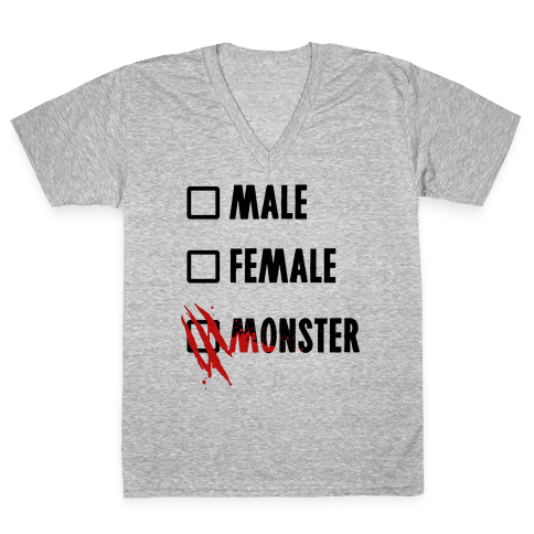 Male Female Monster V-Neck Tee Shirt