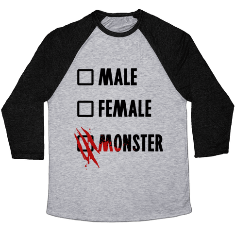Male Female Monster Baseball Tee