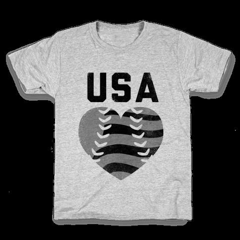USA Baseball Love (Baseball Tee) Kids T-Shirt