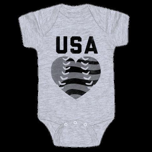 USA Baseball Love (Baseball Tee) Baby Onesy