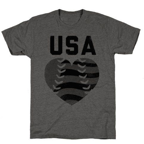 USA Baseball Love (Baseball Tee) Mens T-Shirt