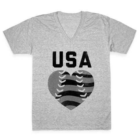 USA Baseball Love (Baseball Tee) V-Neck Tee Shirt