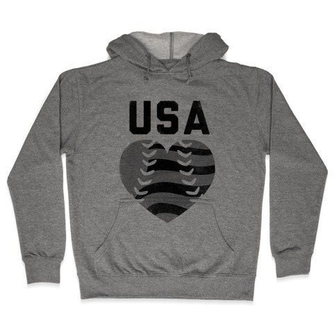 USA Baseball Love (Baseball Tee) Hooded Sweatshirt