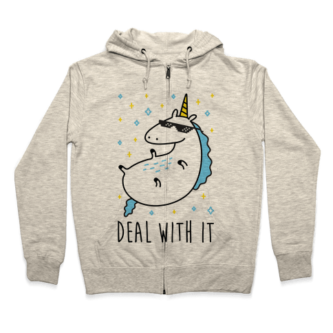 Deal With It Unicorn Zip Hoodie