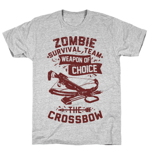 Zombie Survival Team Weapon Of Choice The Crossbow Mens T-Shirt