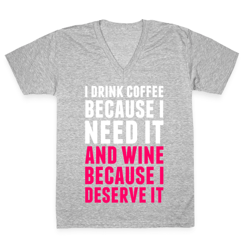 Coffee And Wine V-Neck Tee Shirt