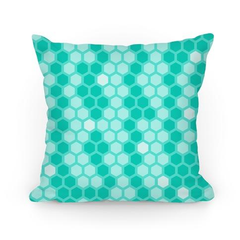 Teal Geometric Honeycomb Pattern Pillow