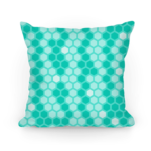 Teal Geometric Honeycomb Pattern Pillow