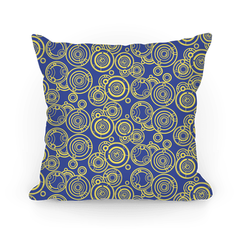 Yellow and TARDIS Blue Gallifreyan Writing Pattern Pillow