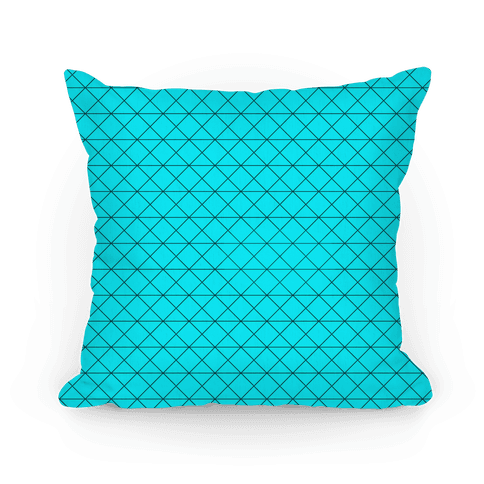 Teal Grid Pattern Pillow