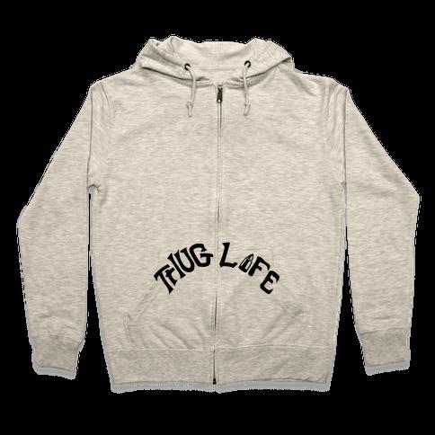 Thug Life Tattoo Zip Hoodie