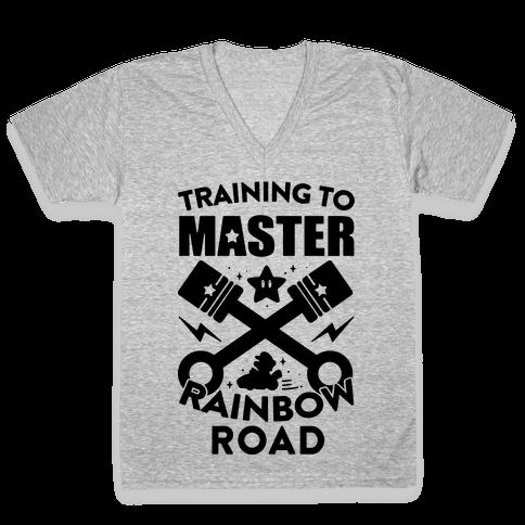 Training To Master Rainbow Road V-Neck Tee Shirt