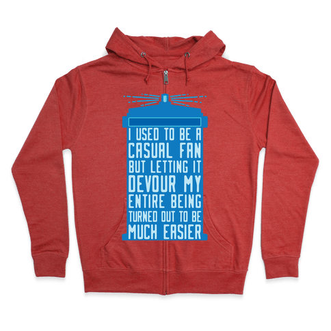 I Used To Be A Casual Fan (Doctor Who) Zip Hoodie