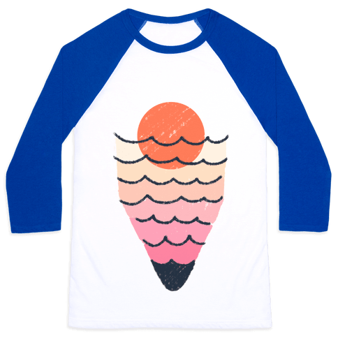 Tropical Ocean Sketch Baseball Tee