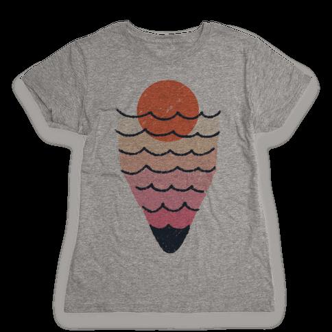 Tropical Ocean Sketch Womens T-Shirt