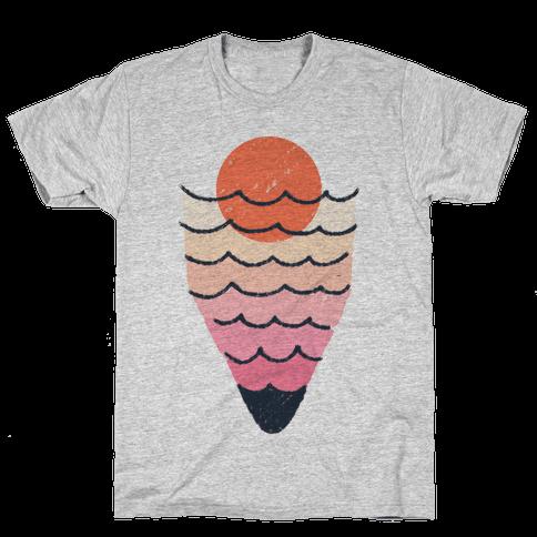 Tropical Ocean Sketch Mens T-Shirt