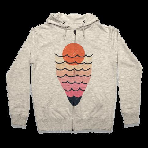 Tropical Ocean Sketch Zip Hoodie