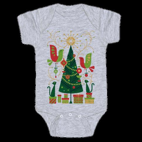 Vintage Christmas Tree Decorating Baby Onesy