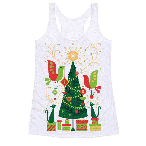Vintage Christmas Tree Decorating Racerback Tank Top
