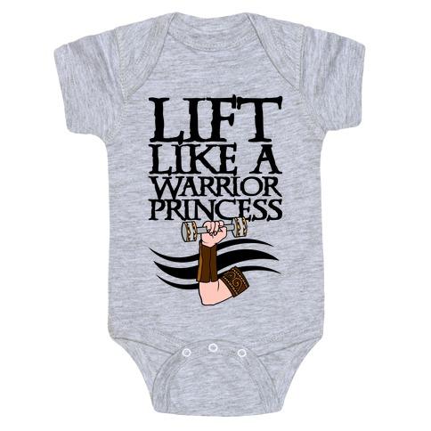 Lift Like A Warrior Princess Baby Onesy