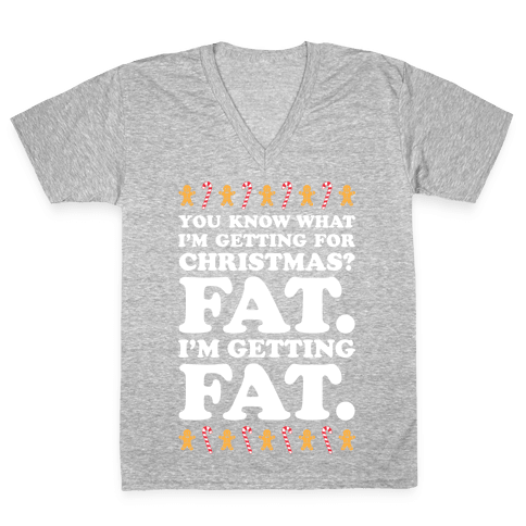 Fat Christmas V-Neck Tee Shirt