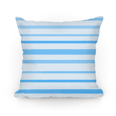 Blue Watercolor Stripe Pattern Pillow