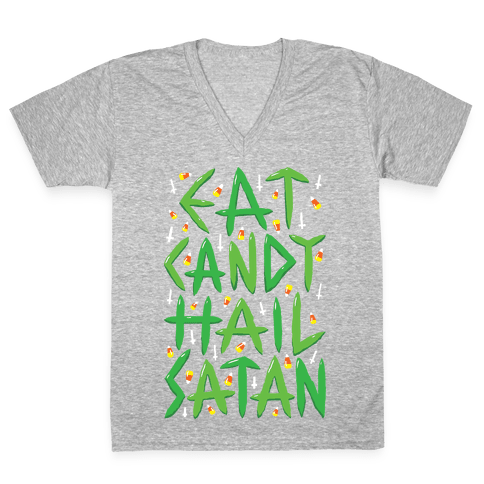 Eat Candy Hail Satan V-Neck Tee Shirt