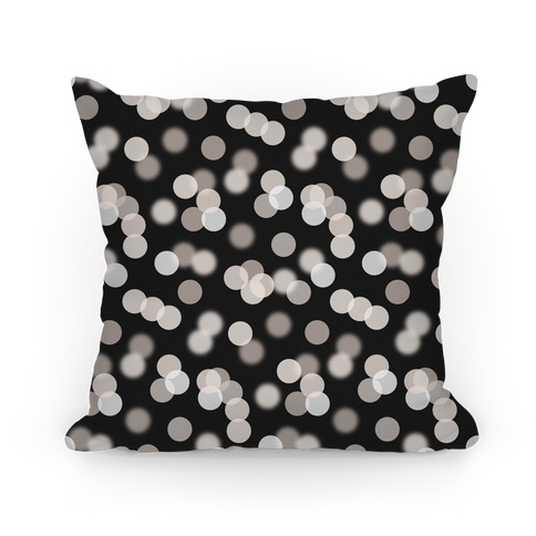 Black and White Glitter Bokeh Pattern Pillow