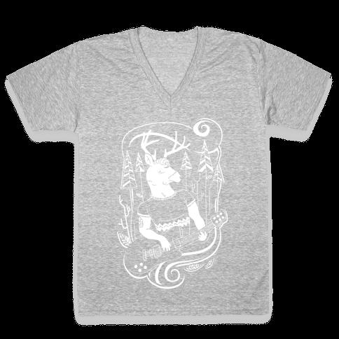 Rock and Roll Buck V-Neck Tee Shirt